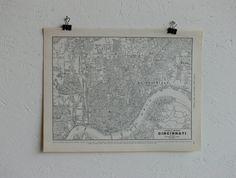 Vintage MapCity of CincinnatiEarly 20th Century by CoMod on Etsy, $12.00