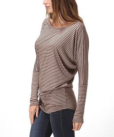 Look at this Bellino Sand Stripe Dolman Top on #zulily today!
