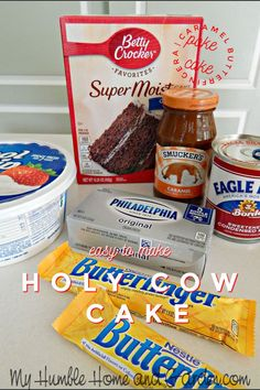 Holy Cow Cake Recipe - Caramel Butterfinger Poke Cake - My Humble Home and Garden Poke Cakes, Cupcake Cakes, Dump Cakes, Köstliche Desserts, Dessert Recipes, Crock Pot Desserts, Dessert Food, Salad Recipes, Holy Cow Cakes