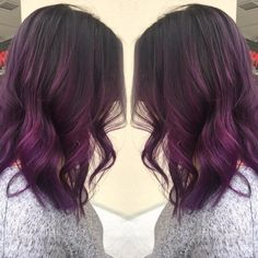 Purple hair on darker brown