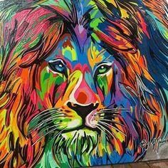 Colorful Lion of Judah prophetic art painting.
