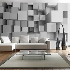 Photo Wallpaper Wall Murals Non Woven 3D Grey Squares Modern