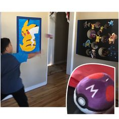 Pokémon party game Gotta catch me' all game. I cut out holes in a black trifold card board and printed Pokémon pics. I used clear tape to hang board on the wall and cover tape with blue painters tape. I used a black plastic cup in the center of board to give space from the wall and only taped the sides of the cardboard. We used a Pokéball ornament plush I found in Amazon to play the toss game. They were perfect to play games and as decoration and each kid got to keep one.