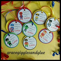 This listing is for 12 Superhero Tags. These tags feature a variety of superheros but you can custom your order to specific ones if you like. Tags come with clear cello bags and are attached to curling ribbon. Different colors and characters are available upon request. Please be