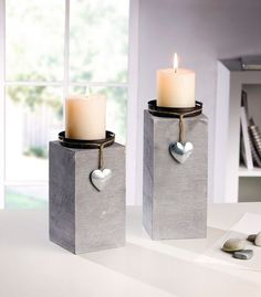 "Candle holder ""Little Heart"" in a set of 2 … - Trend Garden Decoration Concrete Furniture, Concrete Pots, Concrete Crafts, Concrete Projects, Concrete Design, Concrete Candle Holders, Diy Crafts To Do, Creation Deco, Diy Candles"