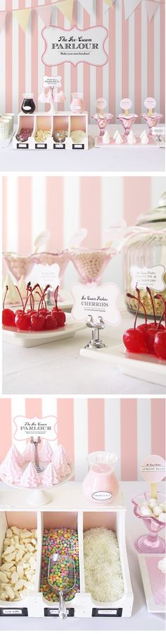 """Ice cream parlour :: Sundae party theme & dessert table...I'd love to invite some of the little girls my daughter's age from our homeschool group to come over for this fun """"Sundae Party"""" I Love it!"""