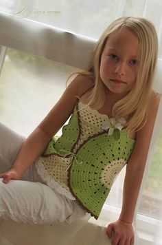 PDF format pattern of Fruity Fun Kiwi Top Corset, which can be made in Watermelon or Citrus theme too. Please note, this pattern is for Kiwi versio. Crochet Toddler, Crochet Girls, Crochet For Kids, Crochet Tops, Corset Pattern, Top Pattern, Butterfly Kisses, Preteen Girls Fashion, Girl Fashion