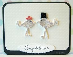 quilling wedding | Paper Quilled Wedding Love Birds Card by QuillyNilly on Etsy