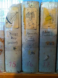 Inside Frida Kahlo's Art Studio, Mexico City: Her files, which she decorated herself in collage fashion.