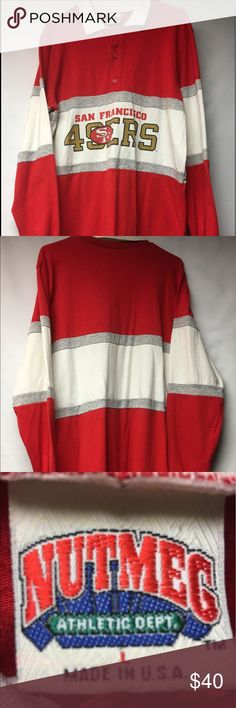 Vintage San Fransisco 49ers Nutmeg Sweatshirt Gently worn Vintage Men's Large or Women's XL San Fransisco Forty Niners Button Up Rugby Style Polo Sweatshirt. Sweatshirt is in good condition with no major flaws. Perfect 80's throwback for Niners Fan. Nutmeg Shirts Sweatshirts & Hoodies
