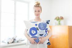 Sunnuntai Cushion Cover / Tyynynpäällinen, by kauniste Online Shop Blue Cushion Covers, Book Baskets, Blue Cushions, Pillow Cover Design, Marimekko, Scandinavian Design, Surface Design, Finland, Pattern Design