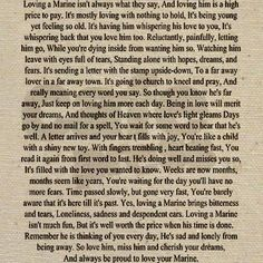 """Loving a Marine"" this is beautiful and most of it is very true...although, I do disagree with some of the things written at the end."