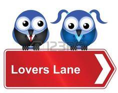 Comical Lovers Lane segno isolato su sfondo bianco photo