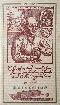 """The famous 'Rosicrucian' portrait of Paracelsus, with his motto """"alterius non sit, qui suus esse potest"""" (Let no man belong to another who can belong to himself) was used for the bookplate of the Chemisch-pharmazeutische Fabrik Göppingen, which still exists today. The factory was established in 1921 to meet the demand for spagyrical medicines: herbal medicines produced by alchemical methods. The term spagyria was coined by Paracelsus in his """"Liber paragranum"""" (1529-1530)…"""