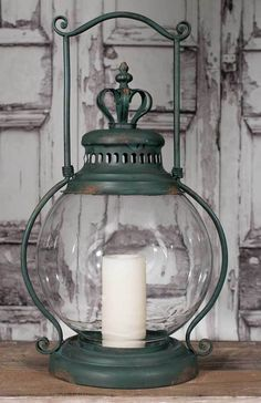 This vintage inspired rustic primitive Large Crown Candle Holder Lantern Hurricane Glass Antique Green would look perfect in your home. x x Includes a glass chimney. Old Lanterns, Vintage Lanterns, Lanterns Decor, Hurricane Candle Holders, Vintage Candle Holders, Hurricane Glass, Large Candles, Oil Lamps, Candlesticks