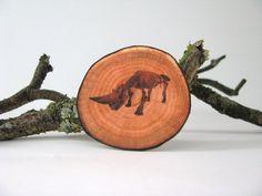 animal brooch - rhino skeleton and fake woodslice brooch - natural history - rhino print - faux bois - free shipping