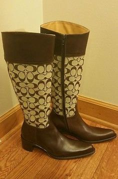 Genuine COACH Olivia Size 8 Signature Boots In Brown New Without Tags LOOK!