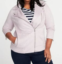 518b7b6bd1c Plus Size 4X Sueded Knit Purple Lilac MOTO JACKET Old Navy Womens Suede NEW  LOOK