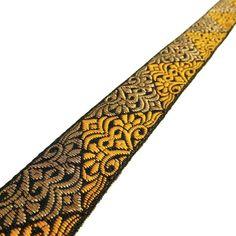 Decorative 3.5 Cm Yellow Jacquard Ribbon Trim Sewing Trim Sari Border By 1 Yard #Unbranded