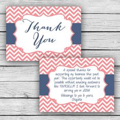 Double-Sided Coral/Navy THANK YOU CARD, Customer Thank You Post ...