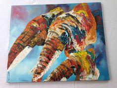 Three elephants - P06 This original acrylic paiting was made by Ugandan artist, Davis Muwumba.