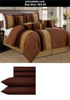 Bedding: 10 Piece Brown Tan Micro Suede Comforter + Sheet Set King Size New - BUY IT NOW ONLY $84.99
