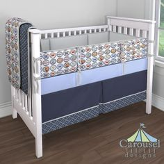 Beach Crib bedding in Solid Silver Gray, Bottle Caps, Solid Navy, Navy Diamonds, Ice Blue. Created using the Nursery Designer® by Carousel Designs where you mix and match from hundreds of fabrics to create your own unique baby bedding.