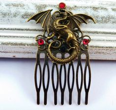 Hair Comb in Gothic style with dragon, China hair comb, hair comb Middle Ages, Fantasy hair comb, bronze hair comb, covering hair jewelry