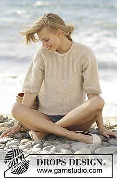 Jumper with raglan and rib on the yoke, worked top down in DROPS Air. Sizes S - XXXL.