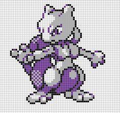 Mewtwo Pixel Art Grid by Hama-Girl.deviantart.com on @deviantART
