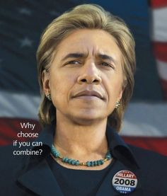 Barack Obama And Hillary Clinton-Most Ridiculous Face Mashes Ever