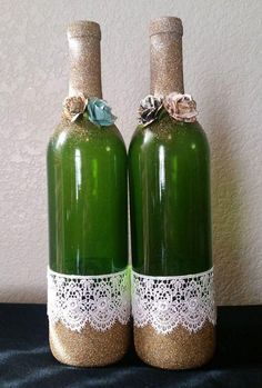 Items similar to Upcycled wine bottle, home decor, green bottle with gold glitter, flowers and lace on Etsy Recycled Wine Bottles, Painted Wine Bottles, Bottles And Jars, Glass Bottles, Glass Bottle Crafts, Wine Bottle Art, Diy Bottle, Wine Craft, Altered Bottles