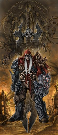 I'd used the idea of the horsemen and the seals to give a sense of grand design. the idea of a cleansing fire. the absent . Darksiders Horsemen, Darksiders Death, Darksiders Game, Dragon Warrior, Fantasy Warrior, Game Character, Character Design, Dark Comics, Horsemen Of The Apocalypse