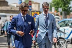 Pitti Uomo 90 street style blue suits - trendspotter