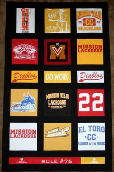 2012 - My son's t-shirt quilt highlighting four years of high school lacrosse and cross country.