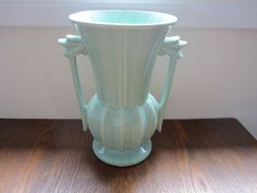 Huge vintage McCoy pottery art deco mint green double handled vase