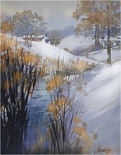 new year's day - ohio by Thomas W. Schaller Watercolor ~ 22 inches x 14 inches
