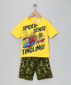 Take a look at this Yellow 'Spider-Sense' Tee & Shorts -  Boys by Blow-Out on #zulily today!