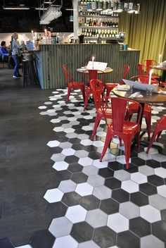 """Creative Floors Combining Wood and Ceramic Tile - another way to define space without """"adding"""" more to the room"""