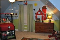 When you spend weekends on the family farm, why wouldn't you create a great farm themed kids room for your son? This room was lovingly created with the help of the @mywonderfulwalls Friendly Farm Wall Stencil Kit and is complete with a tractor bed! Create your own farm themed mural for a baby nursery, kids room, playroom or classroom with these easy to use, self-adhesive wall stencils. Wall decals of the same theme and coordinating accessories are available as well. @mywonderfulwalls