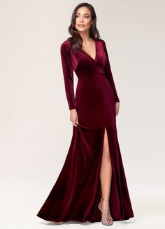 New Moon Burgundy Velvet Maxi Dress Dresses Velvet Bridesmaid Dresses, Velvet Dresses, Wedding Bridesmaids, Christmas Bridesmaid Dresses, Velvet Dress Formal, Navy Velvet Dress, Burgundy Wedding Theme, Maroon Wedding, Fall Wedding