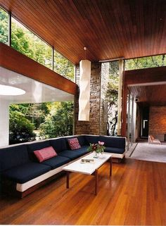 There's no such thing as an ugly Richard Neutra designed home. The interior of one of his restored Los Angeles houses originally designed in 1955. There's a nice 1950's Isamu Noguchi rice paper ceiling lamp as well! via http://www.mcmrevival.com