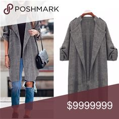 """Light weight Gray blazer coat Super cute Casual long trench style coat   Material: Linen, Color: Gray, Collar: Lapel Sleeve: Long Sleeve Style: Basic Coat, great for career or casual wear, thin material light weight♦️NWOT Available sizes-   Size (12) Shoulder 16"""" Sleeve 22"""" Bust 43"""" Length 31"""" Size (16) Shoulder 16"""" Sleeve 22.6"""" Bust 44"""".5 Length 32.4""""       🛍BUNDLE & SAVE 15%🛍 ✨TOP RATED SELLER✨ 📦SAME DAY OR NEXT DAY SHIPPING!📦 ❤REASONABLE OFFERS WELCOME❤ ❌NO TRADES OR PAYPAL❌ Jackets…"""