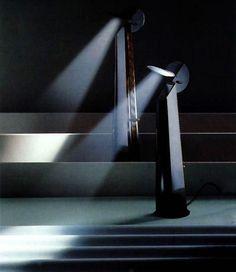 Achille Castiglioni ~ Gibigiana ~ Table lamp for Flos ~ 1980 Cool Lighting, Lighting Design, Claudia Neumann, Modern Contemporary, Modern Design, Achilles, Light And Shadow, Light Table, Lamp Design