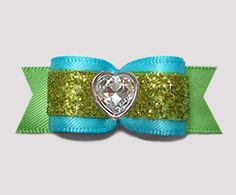 """#2913- 5/8"""" Dog Bow - Electric Blue & Green Glitter, Bling Heart - Click Image to Close"""