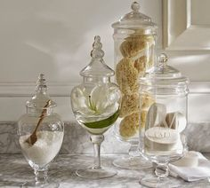 Shop pb classic glass apothecary jar from Pottery Barn. Our furniture, home decor and accessories collections feature pb classic glass apothecary jar in quality materials and classic styles. Pottery Barn, Apothecary Jars Decor, Apothecary Bathroom, Spa Like Bathroom, Bathroom Jars, Spa Inspired Bathroom, Bathroom Ideas, Dream Bathrooms, Bathroom Storage