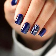 96 Lovely Spring Square Nail Art Ideas - Köröm festés - Best Nail World Dark Blue Nails, Blue Acrylic Nails, Square Acrylic Nails, Square Nails, Acrylic Nail Designs, Nail Art Designs, Pedicure Designs, Black Nail, Blue Nails Art