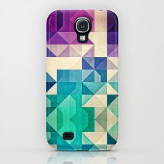"Here's a creative lesson in geometry and gorgeous tones. Pick up Spires' ""pyrply"" phone case, available for Samsung Galaxy and several generations of iPhone at Society6."