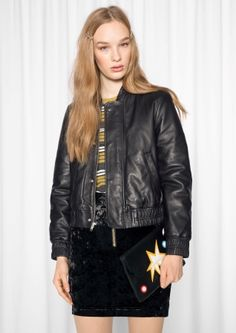 & Other Stories image 1 of Leather Bomber Jacket  in Black