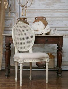 My antique French dining chairs about to look like this - once I paint them!